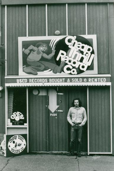 Leroy in front of his record shop circa 1973 where the first writings with Rich took place